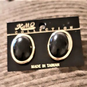 Gold Plated with Black Center Stud Earrings